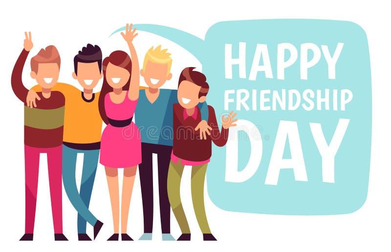 De gelukkige Dag van de Vriendschap De omhelzing van de vriendengroep in liefde Vriendschappelijke tienerjaren vectorkaart royalty-vrije illustratie