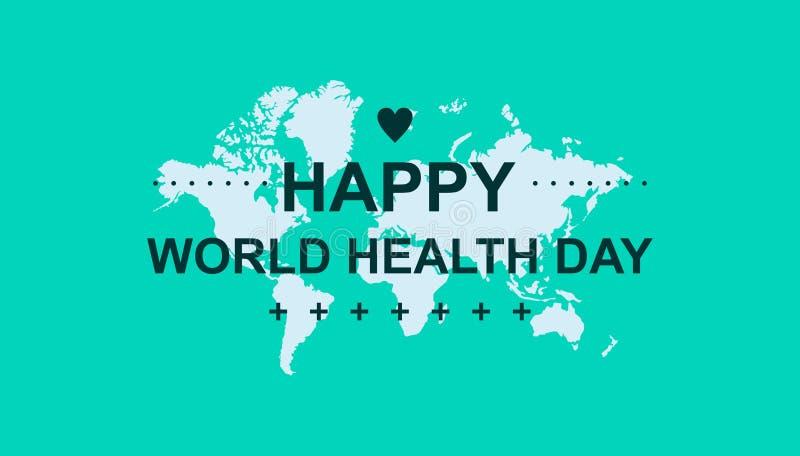 De gelukkige dag van de wereldgezondheid voor banner, groetkaart en anderen met verse kleur vector illustratie