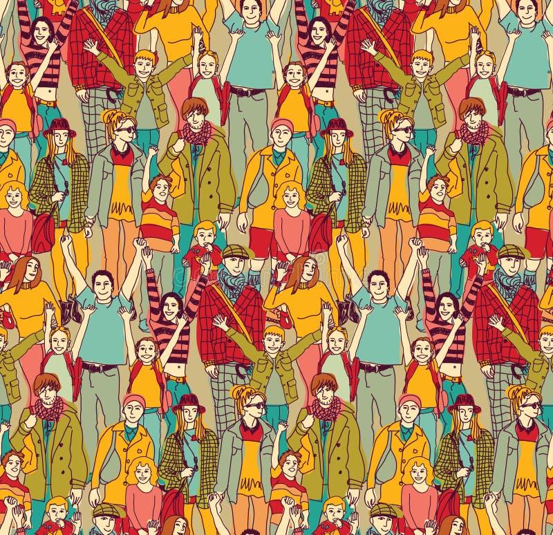 De gelukkige de de oudersmensen en jonge geitjes van de familiemenigte kleuren naadloos patroon stock illustratie