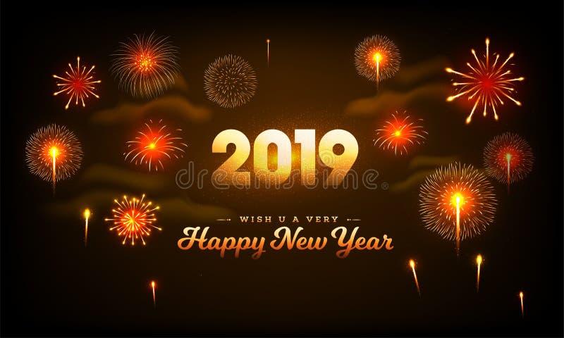2019 de Gelukkige die achtergrond van de Nieuwjaarviering met bursti wordt verfraaid royalty-vrije illustratie