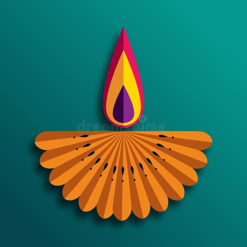 De gelukkige die lampen van Diwali Diya tijdens diwaliviering worden aangestoken vector illustratie