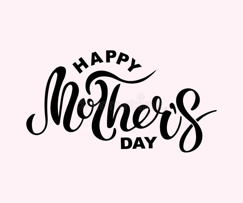 De gelukkige die tekst van de Moeder` s Dag op achtergrond wordt geïsoleerd stock illustratie