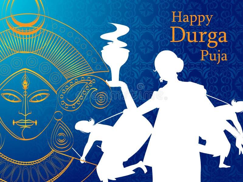 De gelukkige Durga Puja India-achtergrond van de festivalvakantie stock illustratie