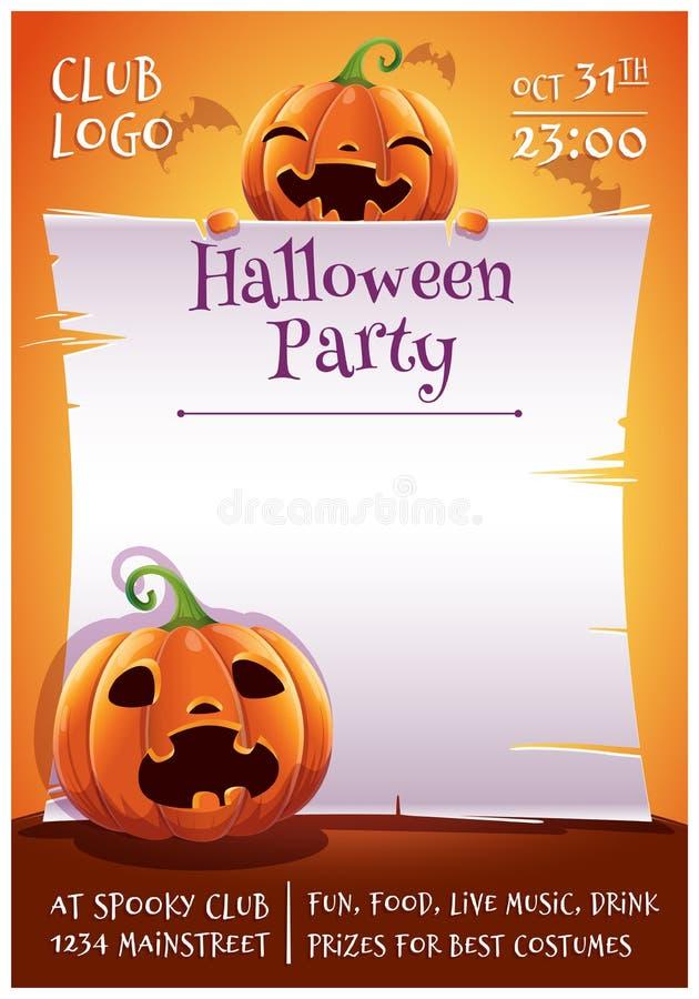 De gelukkige editable affiche van Halloween met glimlachende en doen schrikken pompoenen met perkament op oranje achtergrond met  royalty-vrije illustratie