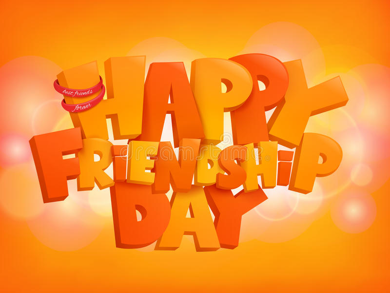 De gelukkige elementen van de het ontwerptekst van de vriendschapsdag op glanzende achtergrond stock illustratie
