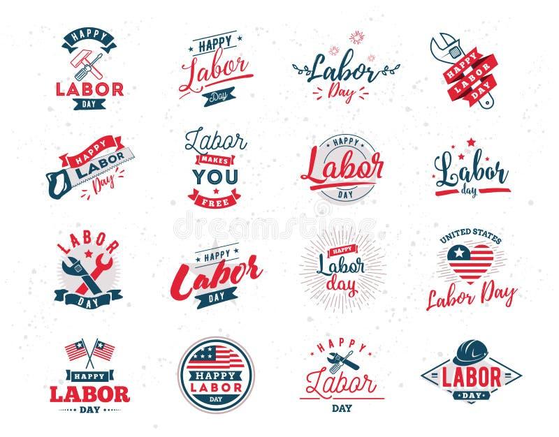 De gelukkige emblemen van de Arbeidsdag royalty-vrije illustratie
