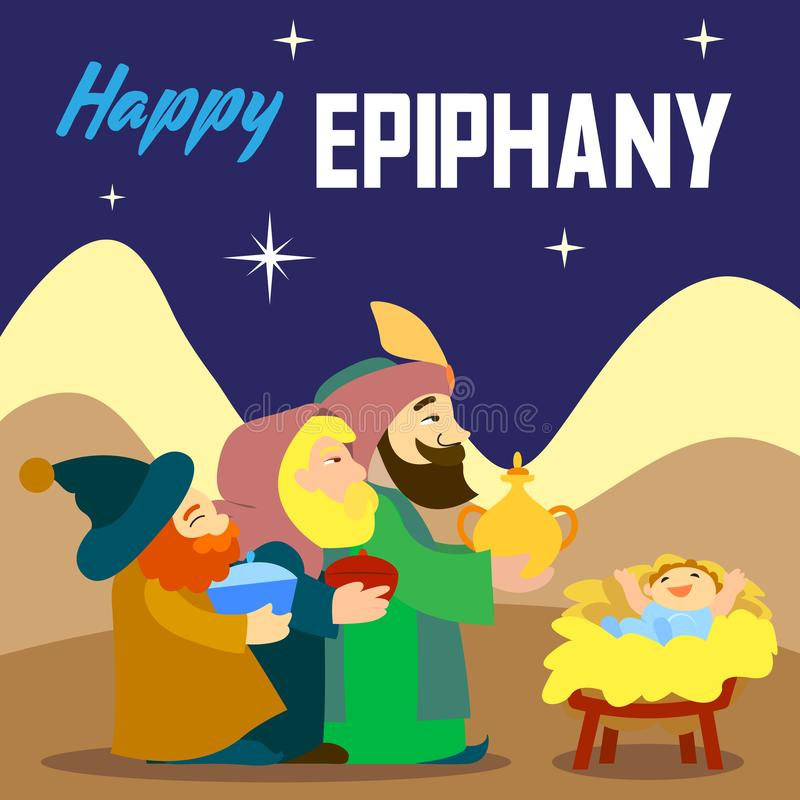 De gelukkige epiphany achtergrond van het drie koningsconcept, beeldverhaalstijl vector illustratie