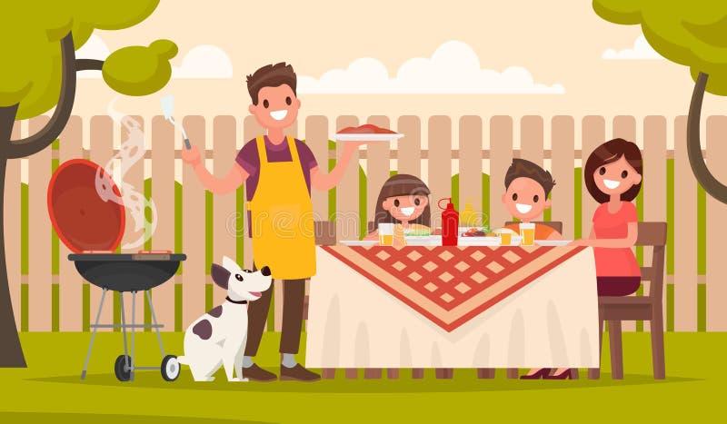 De gelukkige familie bij een picknick bereidt in openlucht een barbecuegrill voor royalty-vrije illustratie