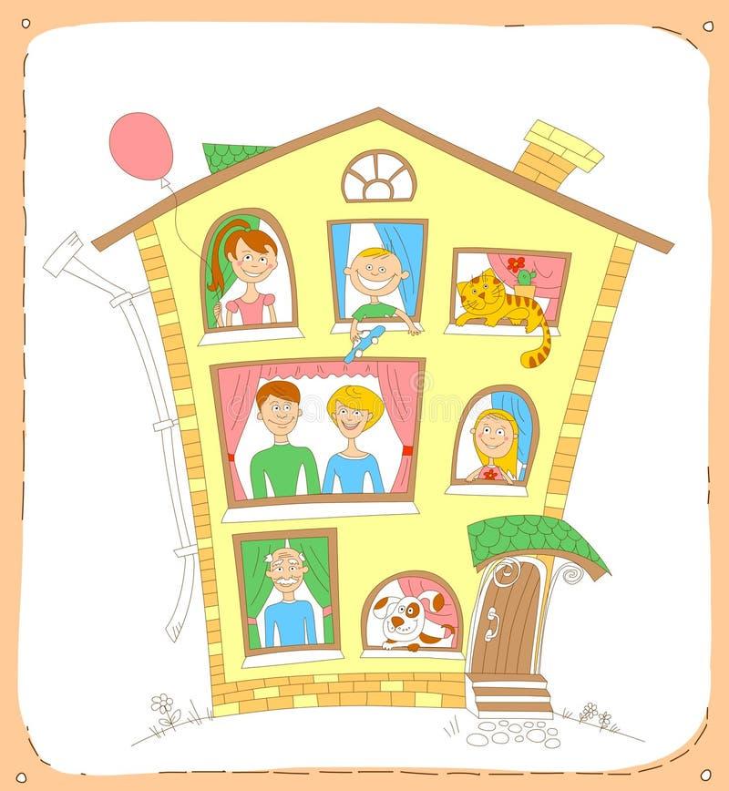 De gelukkige familie en hun huisdieren kijken uit de vensters royalty-vrije illustratie