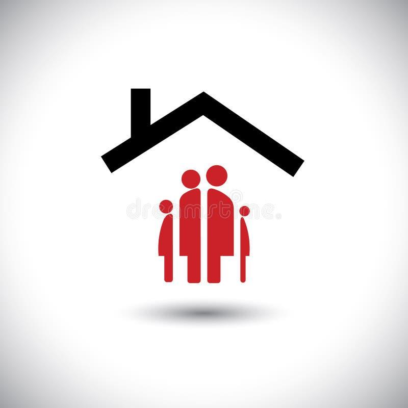 De gelukkige familie & huisvector van het pictogramconcept stock illustratie