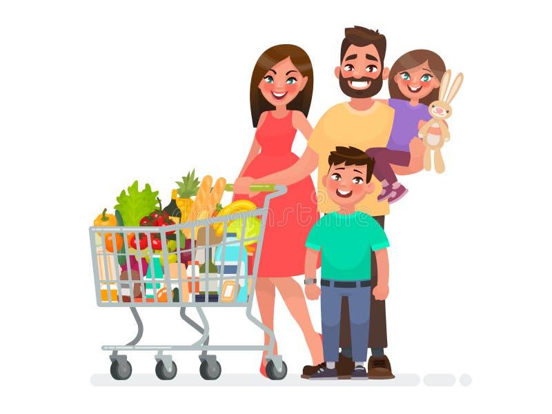 De gelukkige familie met een hoogtepunt van de kruidenierswinkelkar van producten winkelt bij de supermarkt Vector illustratie stock illustratie