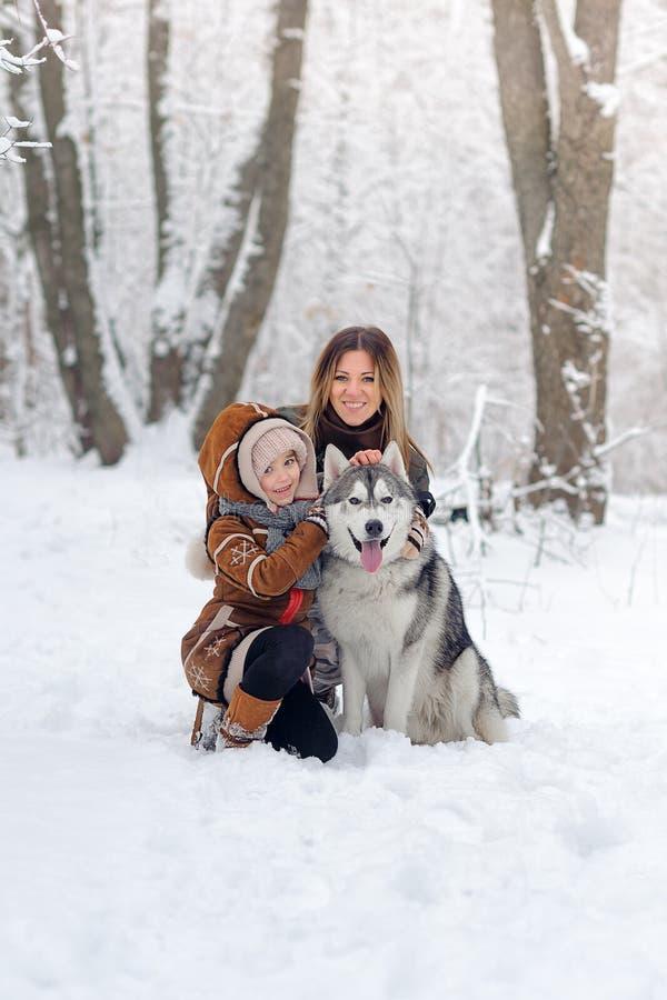 De gelukkige familie met honden huskies stelt in mooi voor het sneeuwhout Bomen in sneeuw stock afbeeldingen
