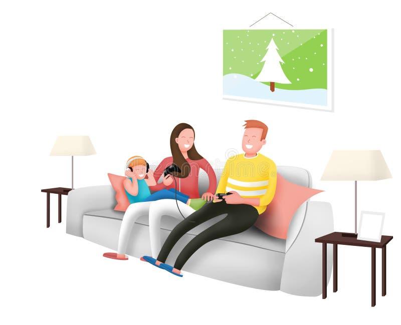 De gelukkige familie speelt samen een elektrische reis en luistert aan de muziek in huis royalty-vrije illustratie