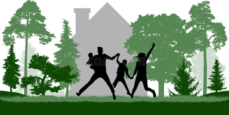 De gelukkige familie springt dichtbij het huis onder bomen royalty-vrije illustratie