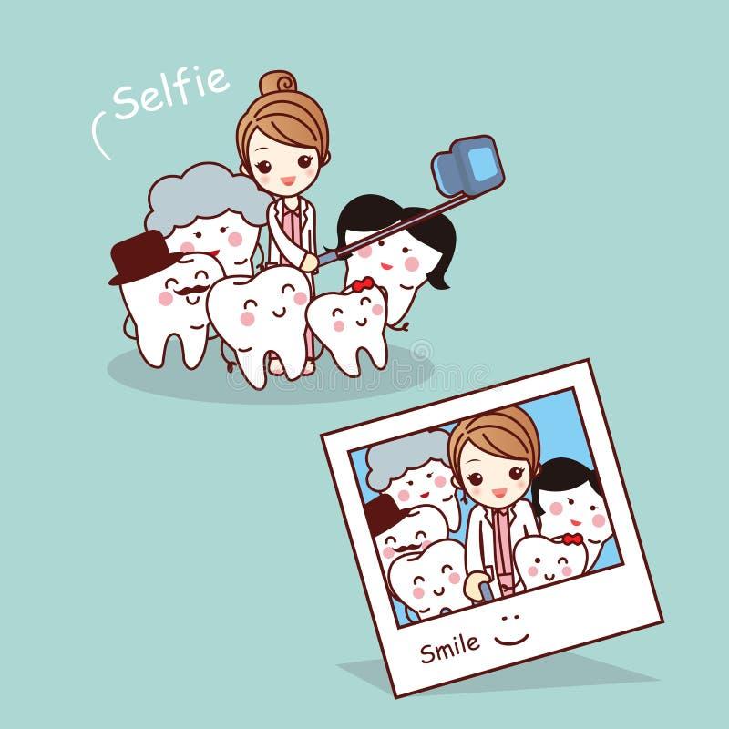 De gelukkige familie van de beeldverhaaltand selfie vector illustratie