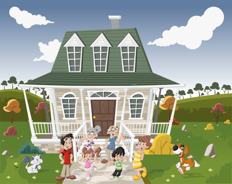Download De Gelukkige Familie Van Het Beeldverhaal Vector Illustratie - Illustratie bestaande uit adolescent, papa: 54084595