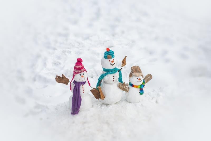 De gelukkige familie van de de wintersneeuwman De moeder sneeuw-vrouw, de vadersneeuwman en het jonge geitje wensen vrolijke Kers royalty-vrije stock afbeelding