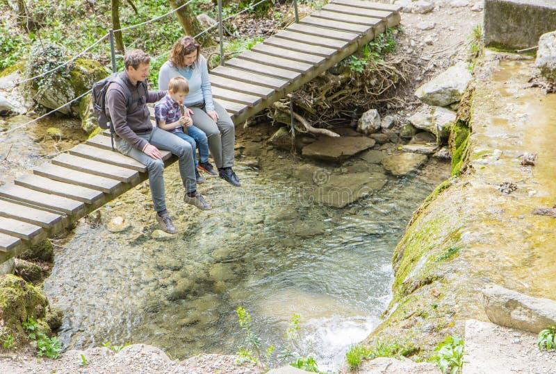 De gelukkige familie zit op een houten brug in het midden van bos stock fotografie