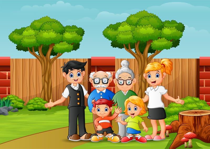 De gelukkige familieleden in de stad parkeren royalty-vrije illustratie