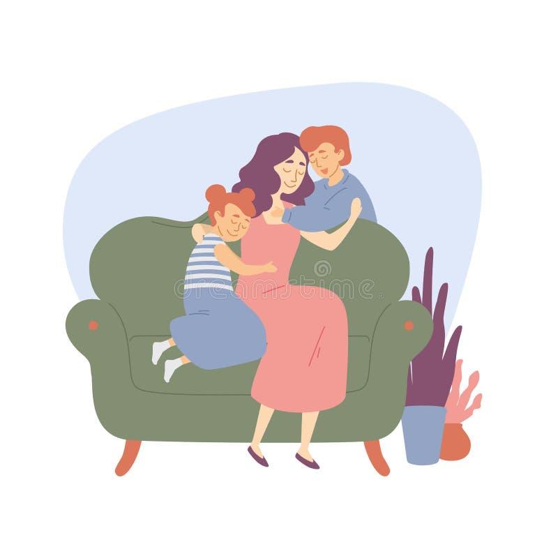 De gelukkige familiemoeder koestert kinderendochter en van de van de zoonsbroer en zuster Liefde, geluk royalty-vrije illustratie