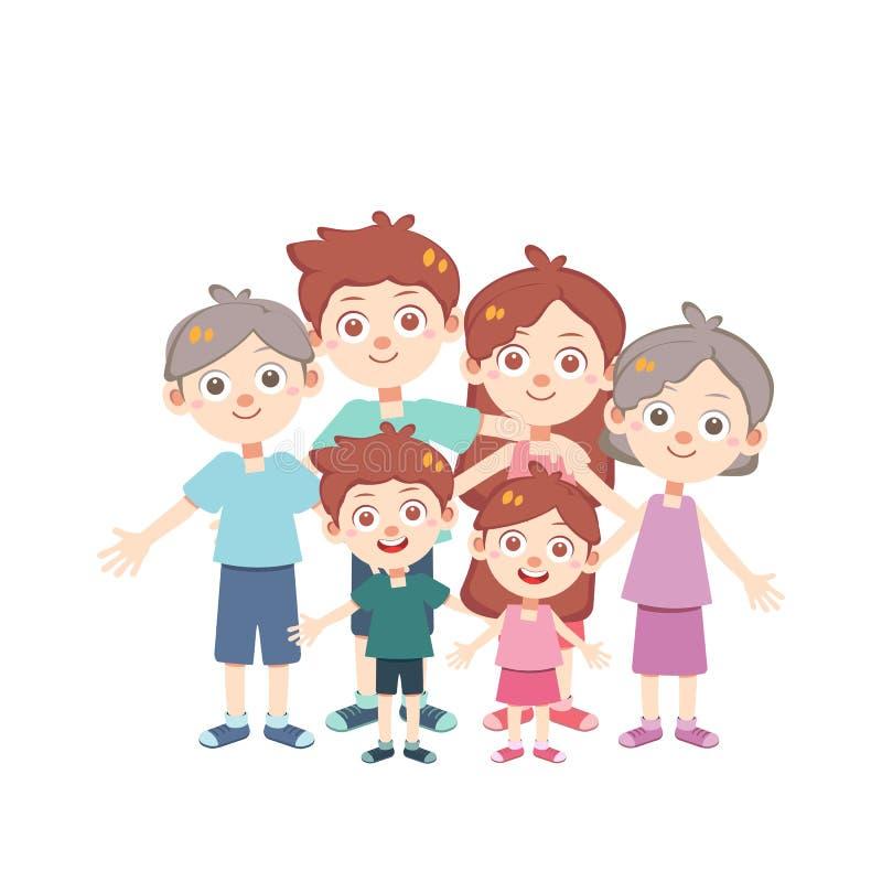 De gelukkige geïsoleerde vector van de familiedag vector illustratie