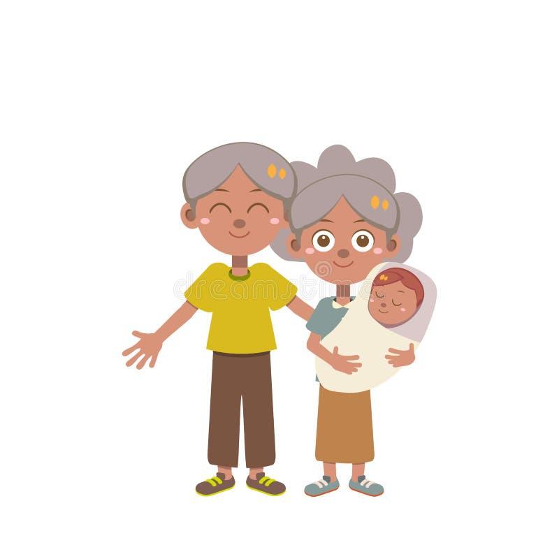 De gelukkige geïsoleerde vector van de familiedag royalty-vrije illustratie