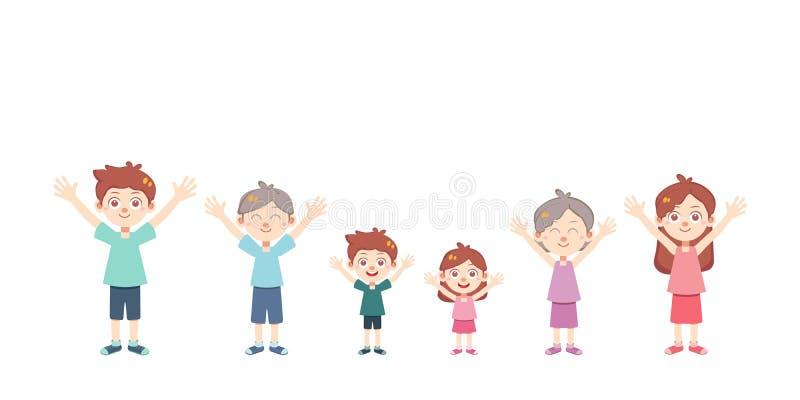 De gelukkige geïsoleerde vector van de familiedag stock illustratie
