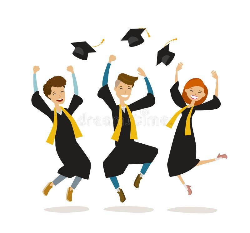 De gelukkige gediplomeerden of de studenten werpen hoeden Onderwijs, universiteit, school, graduatieconcept De vectorillustratie  stock illustratie