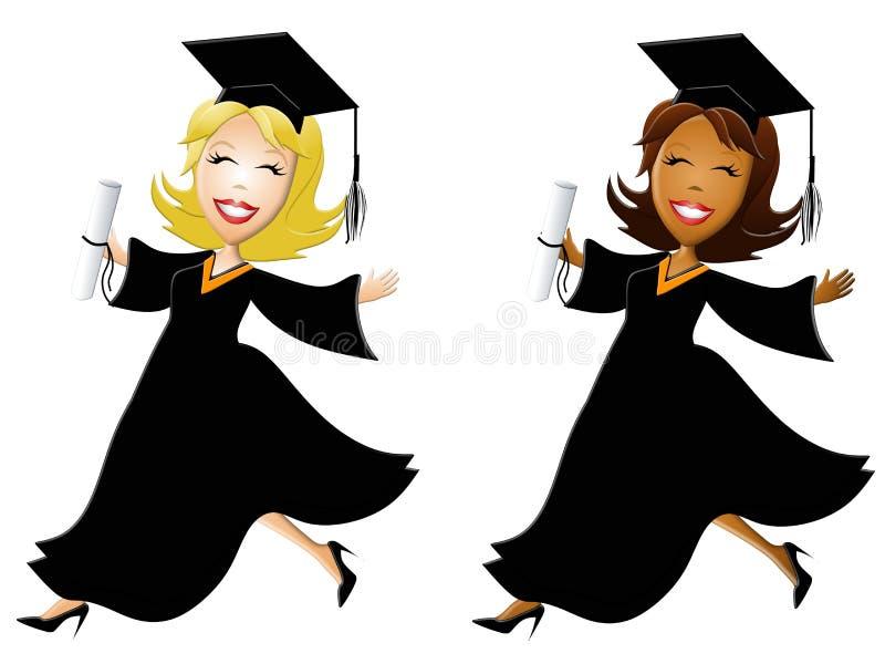 De gelukkige Gediplomeerden van Vrouwen vector illustratie