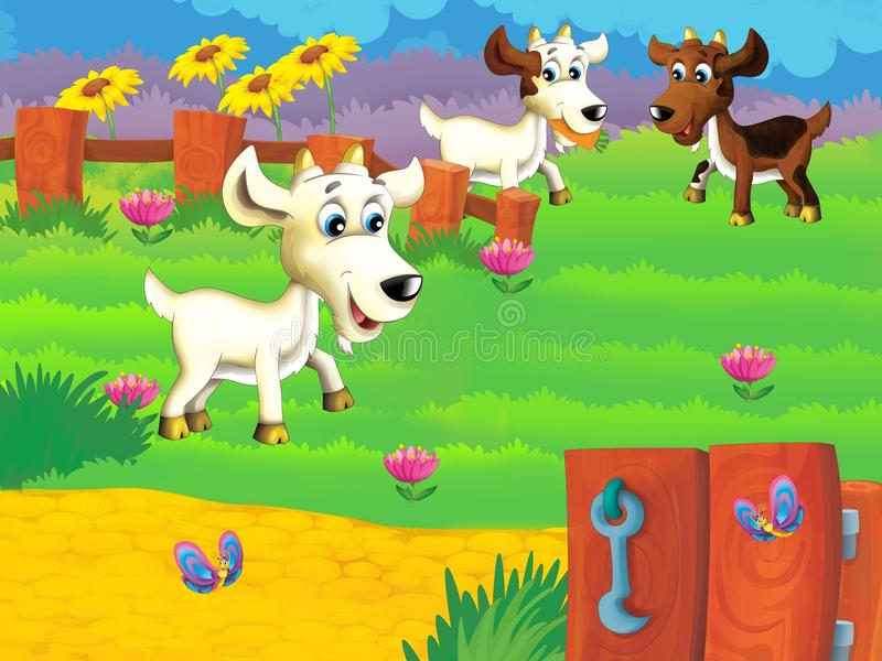 De gelukkige geiten - landbouwbedrijfillustratie stock illustratie