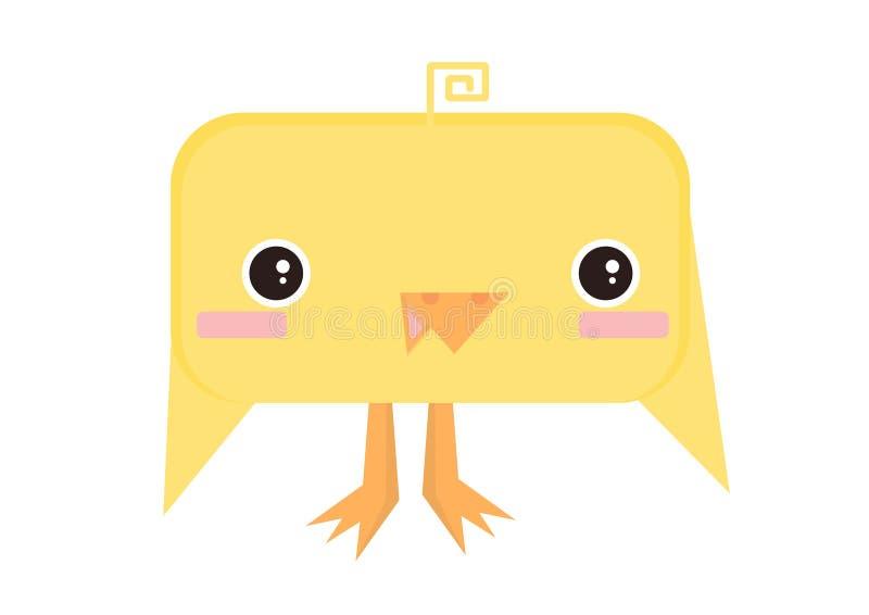 De gelukkige gele vierkante kip van Pasen stock afbeeldingen