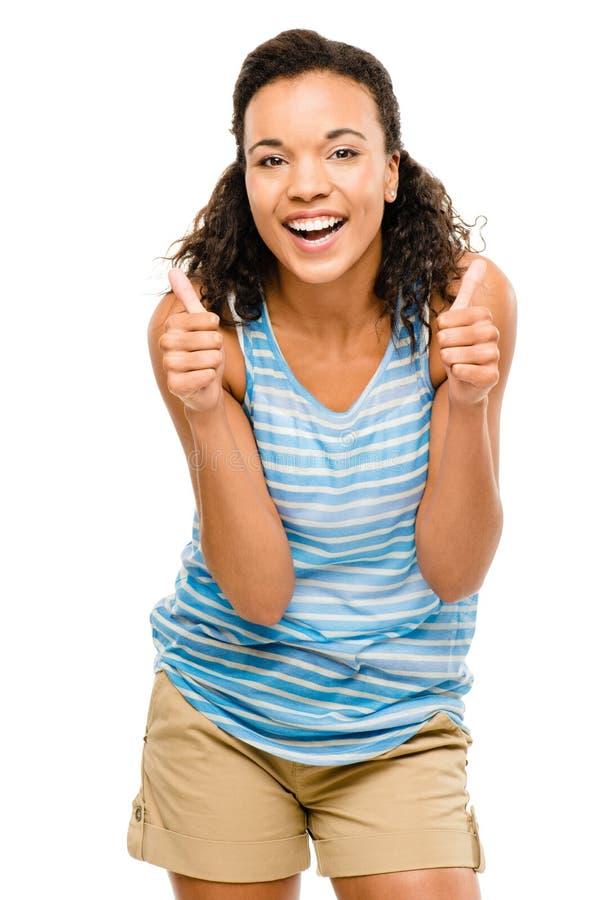 De gelukkige gemengde die duimen van de rasvrouw omhoog op witte achtergrond worden geïsoleerd stock afbeelding
