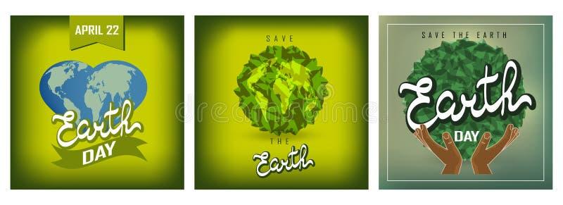 De gelukkige geplaatste affiches van de Aardedag royalty-vrije illustratie