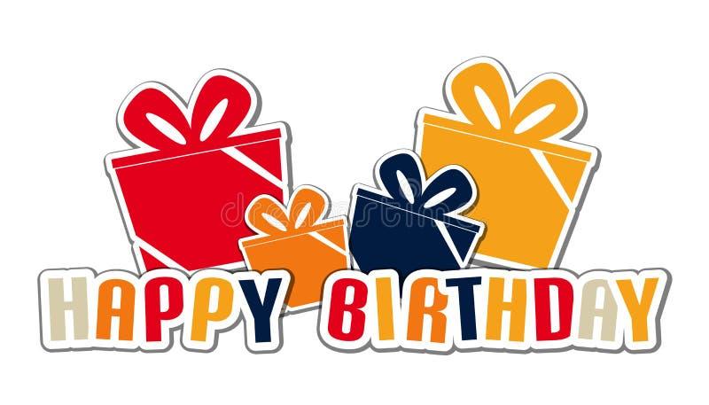De gelukkige Geplaatste Doos van de Verjaardagsgift - Kleurrijke Vectorillustratie - die op Witte Achtergrond wordt geïsoleerd stock illustratie