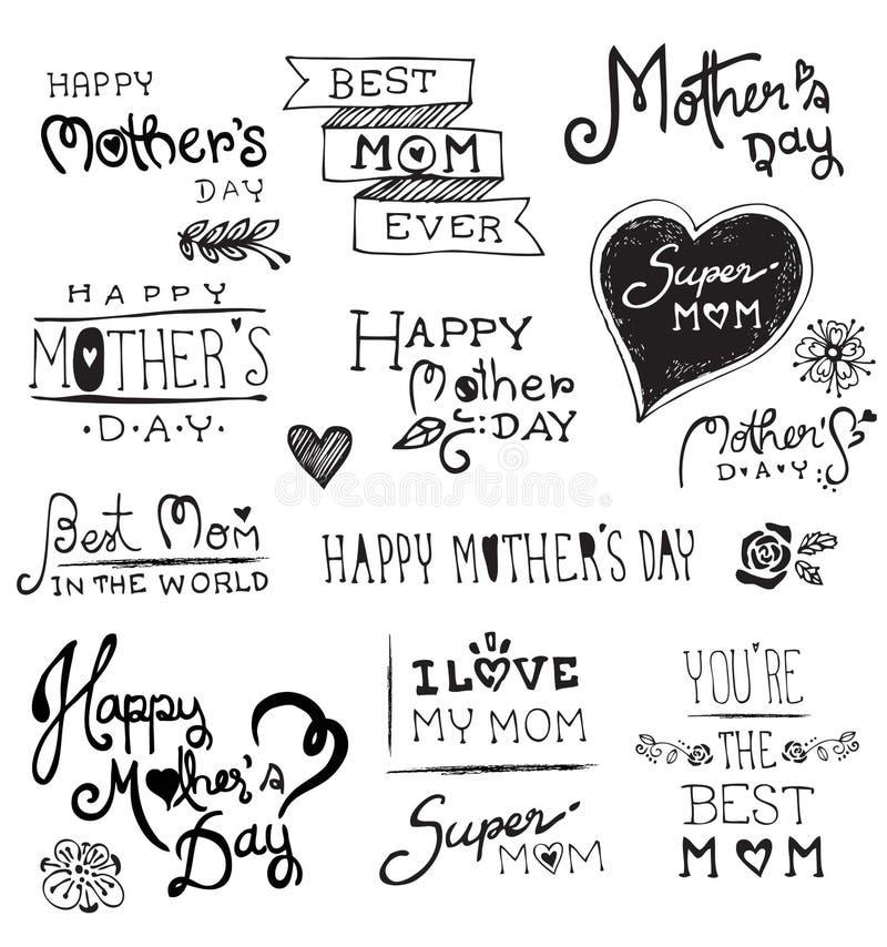 De gelukkige getrokken typografie van de Moedersdag hand, stock illustratie