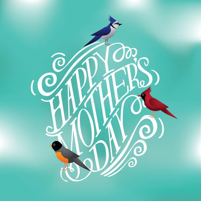 De gelukkige getrokken typografie van de Moedersdag hand met EPS 10 van de lentevogels vector vector illustratie