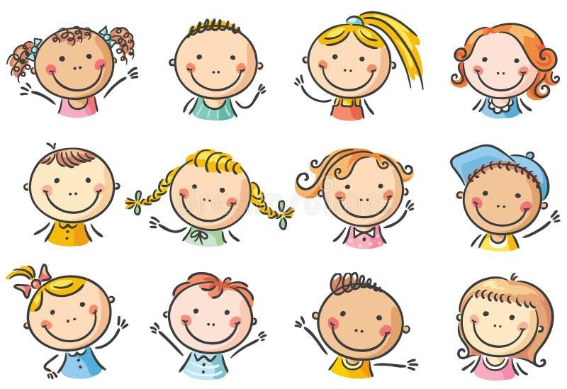 De gelukkige gezichten van beeldverhaaljonge geitjes vector illustratie
