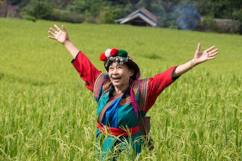 De gelukkige glimlach van de heuvelstam in kleurrijke het kostuumkleding van het padiepadieveld stock fotografie