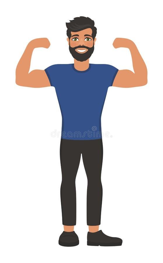 De gelukkige glimlachende mens toont zijn spieren vector illustratie