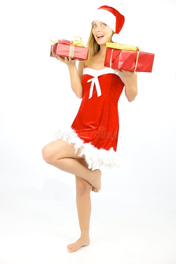 De gelukkige glimlachende vrouwelijke Kerstman isoleerde royalty-vrije stock foto's
