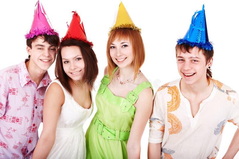 De gelukkige groep mensen viert verjaardag. stock afbeeldingen