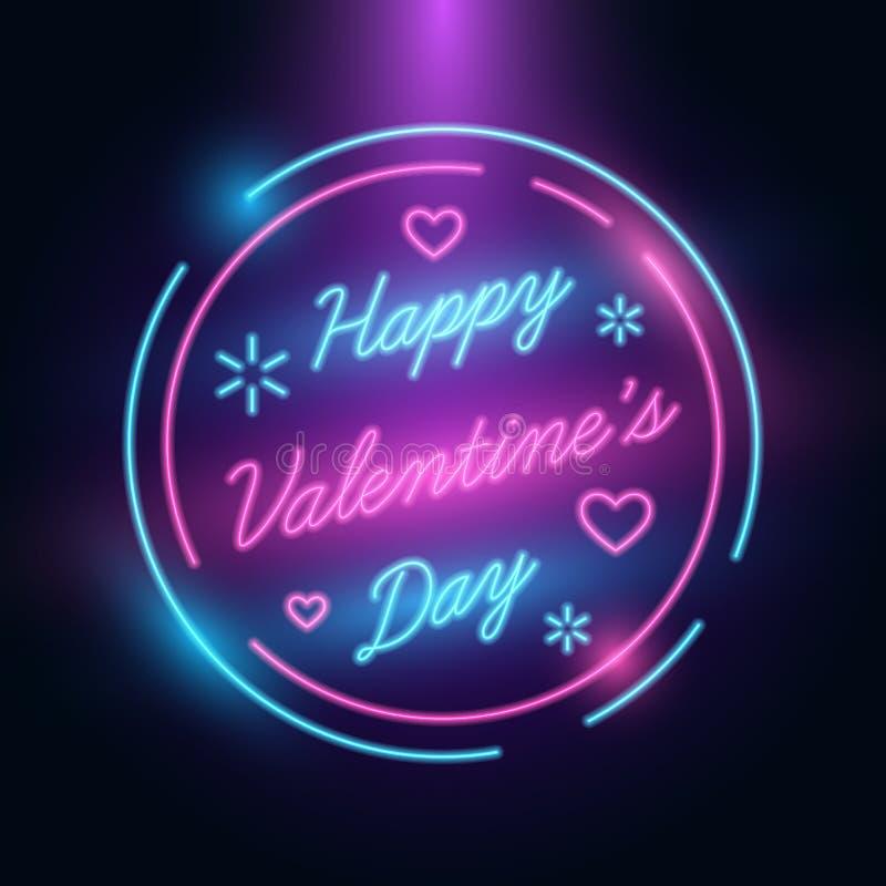 De gelukkige groet van de valentijnskaartendag 14 Internationaal de Vieringenmalplaatje van Februari Neon Retro Stijl Gloed in da vector illustratie