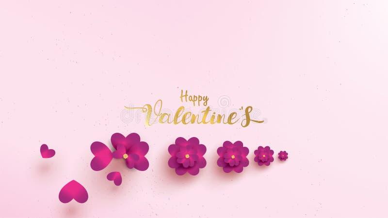 De gelukkige de groetkaart van de Valentijnskaartendag met roze en purpere bloem nam horizontale vorm of landschap toe Bloemencon vector illustratie