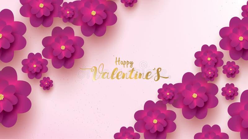 De gelukkige de groetkaart van de Valentijnskaartendag met roze en purpere bloem nam toe bloemenconcept als achtergrond geschikt  stock illustratie
