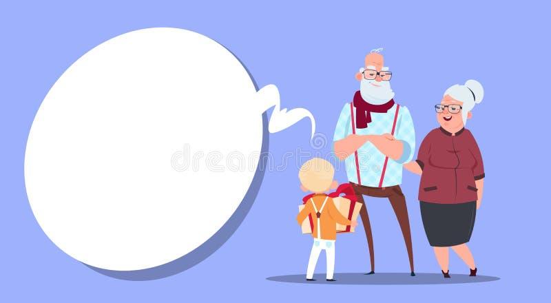 De gelukkige Grootouders koppelen aan Kleinzoon die Huidige Doos Moderne Grootvader en Grootmoeder en Kleine Jongen geven royalty-vrije illustratie