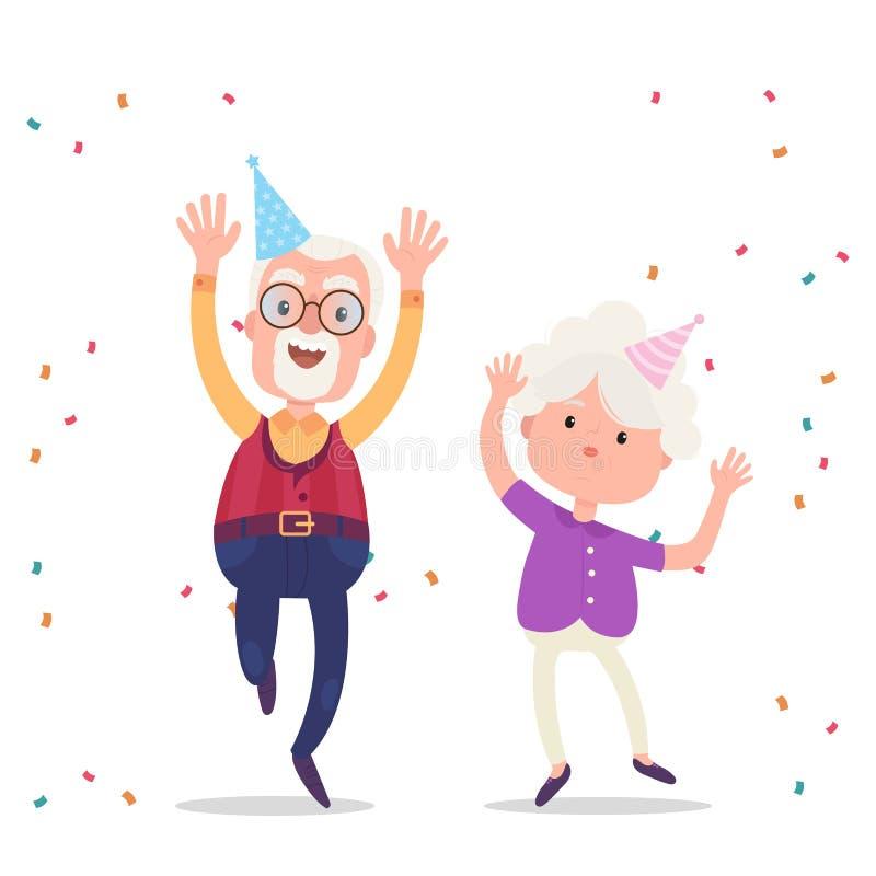 De gelukkige grootouders vieren de verjaardagspartij royalty-vrije illustratie