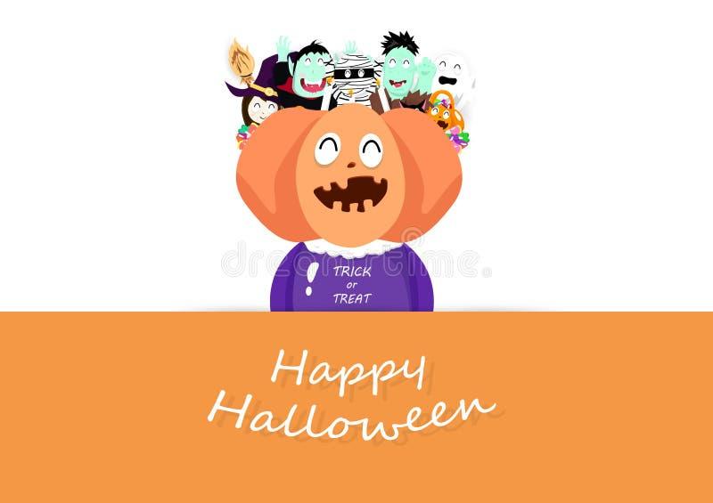 De gelukkige Halloween-groetkaart, truc of behandelt, festival leuk beeldverhaal, grote hoofdpompoen met vrienden, uitnodigings a stock illustratie