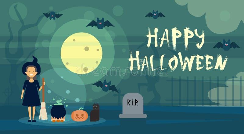 De gelukkige Halloween-Heks van de Groetkaart bij Nacht op Begraafplaatskerkhof met Pompoenbanner stock illustratie