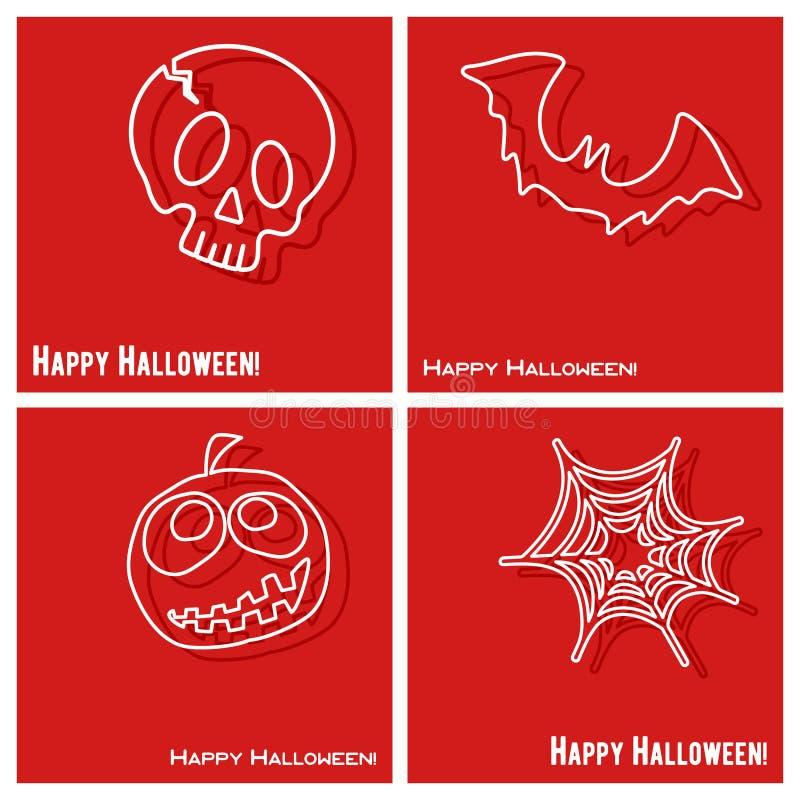 De gelukkige Halloween-reeks van het dekkingsmalplaatje royalty-vrije illustratie