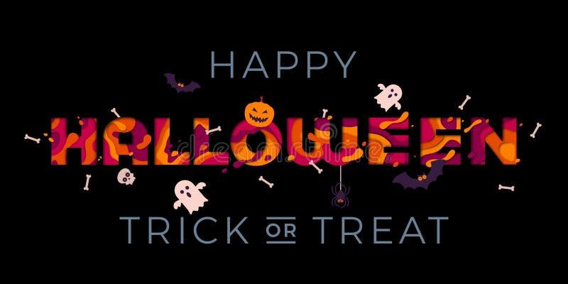 De gelukkige Halloween-truc of behandelt kaart van de het spookgroet van de pompoenpartij de vector vector illustratie